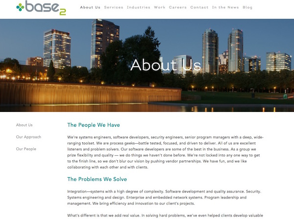 Base2 Solutions :: Web copy, purpose statements, trade show collateral, case studies